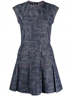 Джинсовое платье с логотипом Giambattista Valli. Цвет: синий