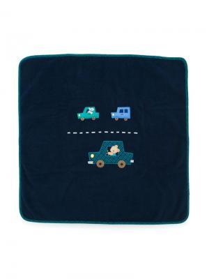 Одеяло с нашивкой в виде машины Familiar. Цвет: синий
