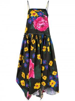 MarquesAlmeida расклешенное платье асимметричного кроя с цветочным принтом Marques'Almeida. Цвет: разноцветный