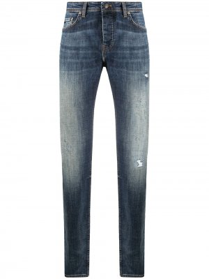 Зауженные джинсы с эффектом потертости Boss Hugo. Цвет: синий