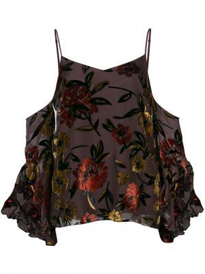 Блузка с цветочным узором и вырезными деталями на плечах Amanda Uprichard. Цвет: розовый и фиолетовый