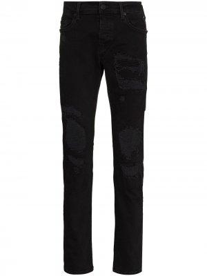 Узкие джинсы Rocco с эффектом потертости True Religion. Цвет: черный