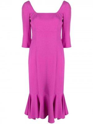 LAutre Chose платье миди с баской L'Autre. Цвет: розовый