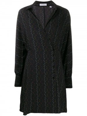 Платье-рубашка с принтом и пуговицами сбоку Equipment. Цвет: черный