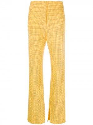 Расклешенные брюки Tabbie в клетку Nanushka. Цвет: желтый