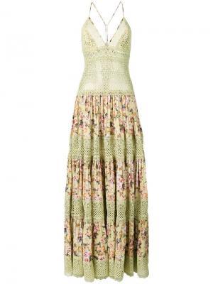 Платье с цветочной вышивкой Charo Ruiz. Цвет: зеленый