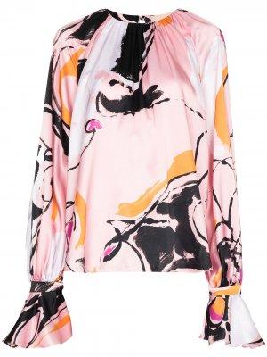 Блузка с пышными рукавами и принтом Dance Roksanda. Цвет: розовый