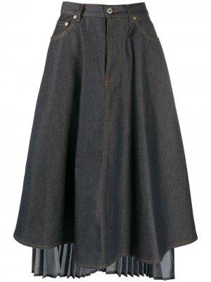 Джинсовая юбка асимметричного кроя с плиссировкой LOEWE. Цвет: синий