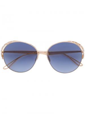 Круглые солнцезащитные очки с кристаллами Swarovski Elie Saab. Цвет: желтый