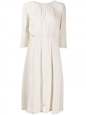 Платье миди со сборками Semicouture. Цвет: нейтральные цвета