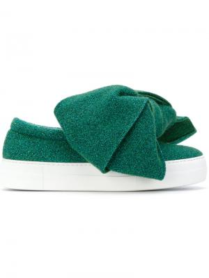 Slip-on sneakers with bow Joshua Sanders. Цвет: зелёный