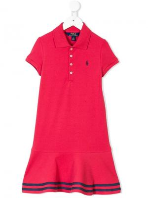 Платье-поло с полосками на подоле Ralph Lauren Kids. Цвет: красный