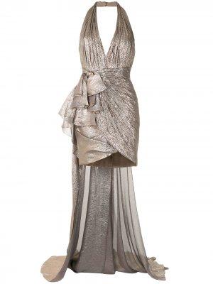 Платье с оборками Zuhair Murad. Цвет: серебристый