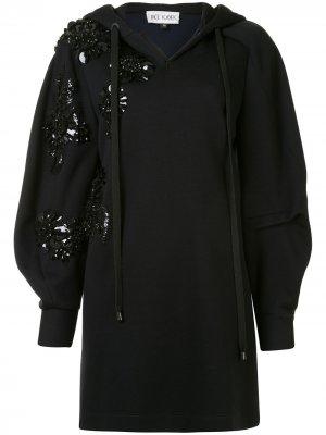 Платье-свитер с капюшоном Dice Kayek. Цвет: черный
