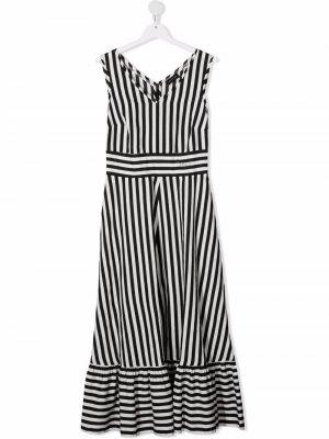 Платье миди в полоску Monnalisa. Цвет: черный