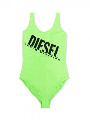 Купальник с логотипом Diesel Kids. Цвет: зеленый