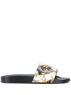 Шлепанцы с принтом Acanthus Versace. Цвет: черный