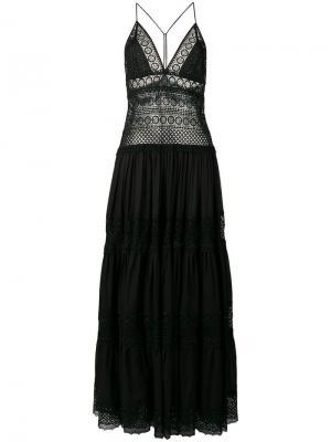 Платье с кружевной вышивкой Charo Ruiz. Цвет: черный