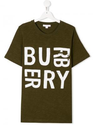 Футболка с логотипом Burberry Kids. Цвет: зеленый