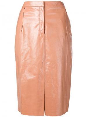 Прямая кожаная юбка Drome. Цвет: нейтральные цвета