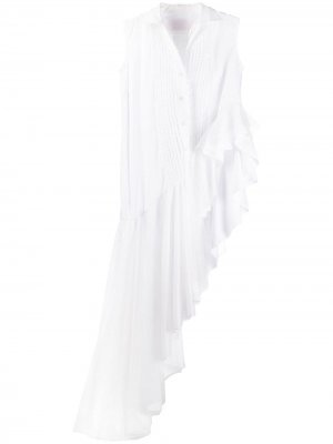 Тюлевая рубашка с асимметричным подолом Viktor & Rolf. Цвет: белый