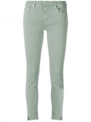 Укороченные джинсы скинни 7 For All Mankind. Цвет: зеленый