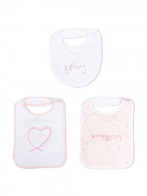 Комплект из трех нагрудников с логотипом Givenchy Kids. Цвет: белый