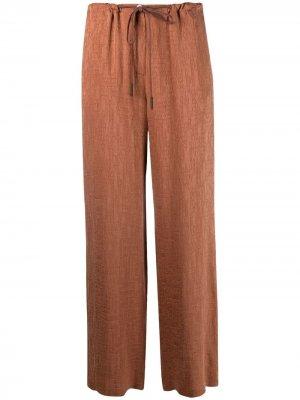 Прямые брюки с вышивкой Alysi. Цвет: коричневый