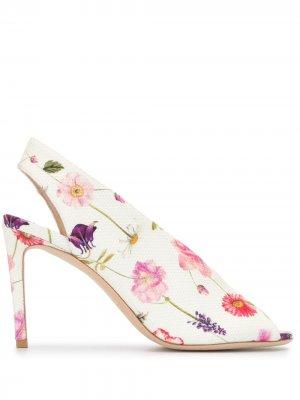 Туфли-лодочки с цветочным принтом Luisa Beccaria. Цвет: белый
