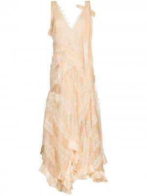 Платье Charm с кружевом Zimmermann. Цвет: нейтральные цвета