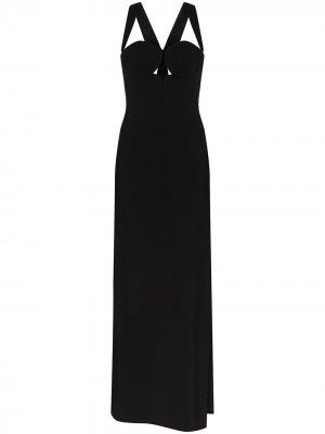 Вечернее платье макси с вырезом халтер и боковым разрезом Versace. Цвет: черный