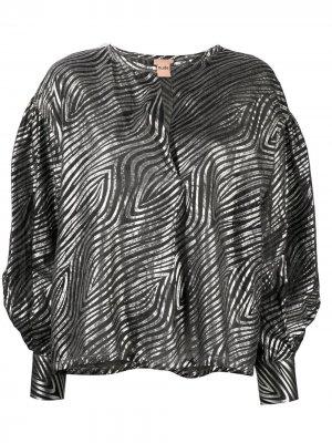 Рубашка с объемными рукавами и зебровым принтом Nude. Цвет: черный