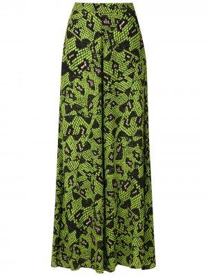 Широкие брюки Cobra с принтом Eva. Цвет: зеленый