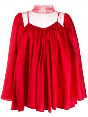 Расклешенная блузка с прозрачными вставками Atu Body Couture. Цвет: красный