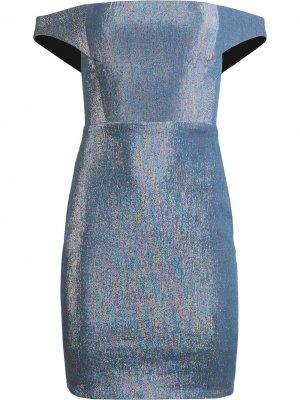 Платье с открытыми плечами и эффектом металлик Michelle Mason. Цвет: синий