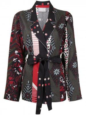 Короткий халат с контрастной вставкой Pierre-Louis Mascia. Цвет: черный