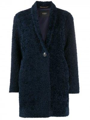Пальто из овчины длины миди Seventy. Цвет: синий
