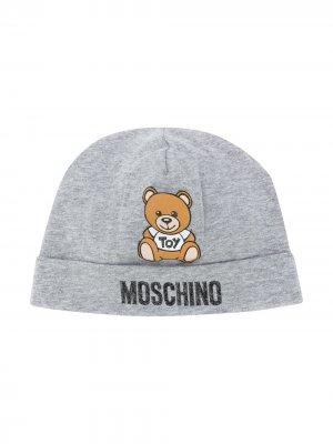 Шапка бини Teddy с логотипом Moschino Kids. Цвет: серый