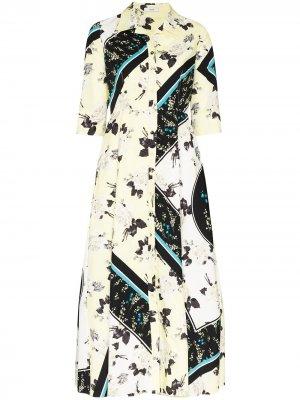 Платье-рубашка Kasia с цветочным принтом Erdem. Цвет: желтый