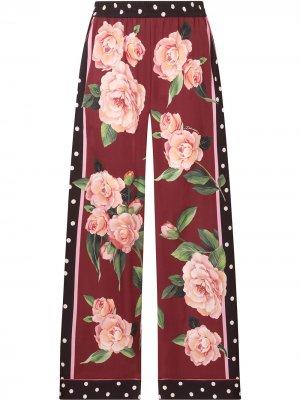 Прямые брюки с принтом Dolce & Gabbana. Цвет: красный