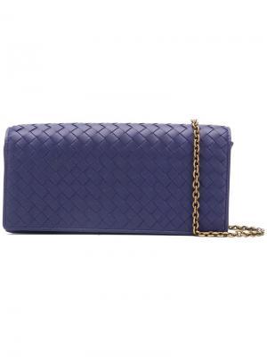 Континентальный кошелек с плетением intrecciato Bottega Veneta. Цвет: синий