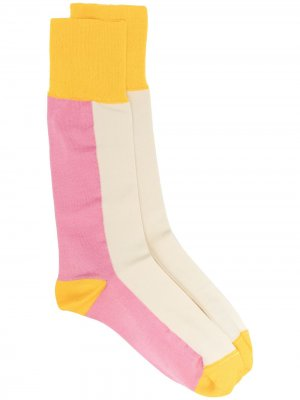 Носки в стиле колор-блок со вставками Marni. Цвет: розовый