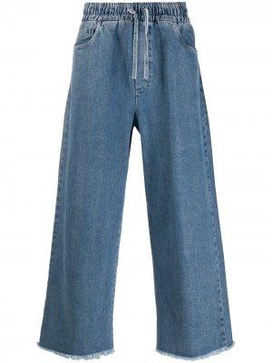 Широкие джинсы с кулиской Sunnei. Цвет: синий