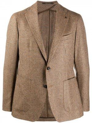 Клетчатый пиджак Tagliatore. Цвет: коричневый