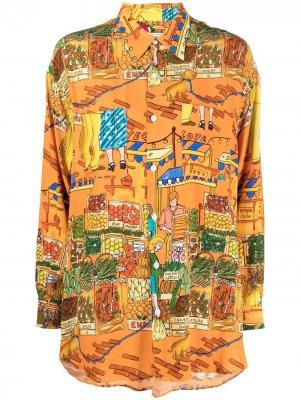 Рубашка с длинными рукавами и графичным принтом alessandro enriquez. Цвет: оранжевый