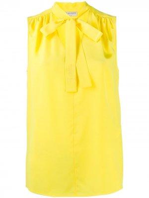 Блузка без рукавов с завязками на воротнике Emilio Pucci. Цвет: желтый