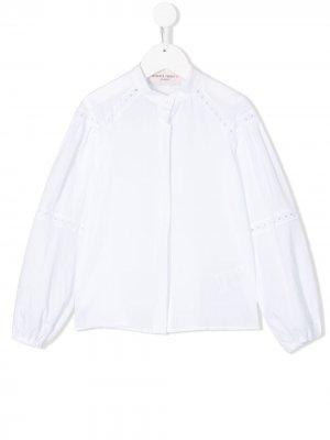 Рубашка с кружевной отделкой Alberta Ferretti Kids. Цвет: белый