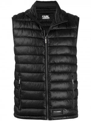 Стеганый жилет с нашивкой-логотипом Karl Lagerfeld. Цвет: черный