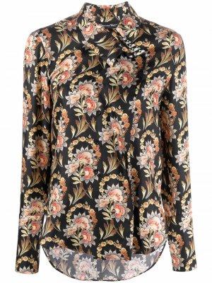 Рубашка с цветочным принтом Oscar de la Renta. Цвет: черный