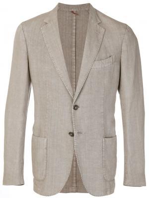 Пиджак с глубоким V-образным вырезом Dell'oglio. Цвет: нейтральные цвета